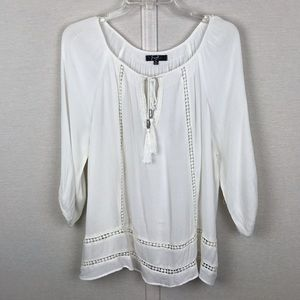 EARL JEANS White Rayon Lightweight Blouse Size Med